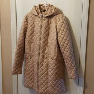 Via Spiga Hooded Quilted Coat, XL, Blush
